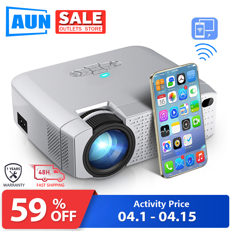 AUN LED Mini Projector D40W .1600 Lumens, Support HD, Wireless Sync Display For Mobile Phone.WiFi Projector For Home Cinema 1