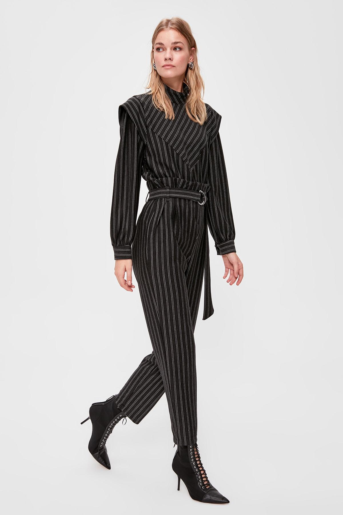 Trendyol Belt Detail Striped Knit Pants TWOAW20PL0469