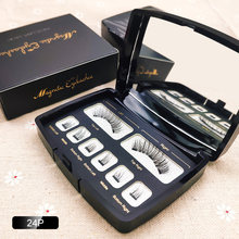 Faux-cils magnétiques avec 3 aimants 3D/6D faits à la main, naturels, boîte en acrylique, outil de maquillage, cosmétiques, cadeau pour filles