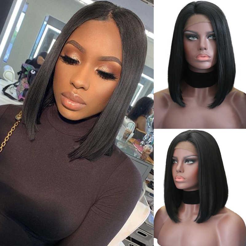 Carisma Bob corto peluca Natural Sintético recto peluca con malla frontal de Color negro resistente al calor sin costuras pelucas para mujeres negras