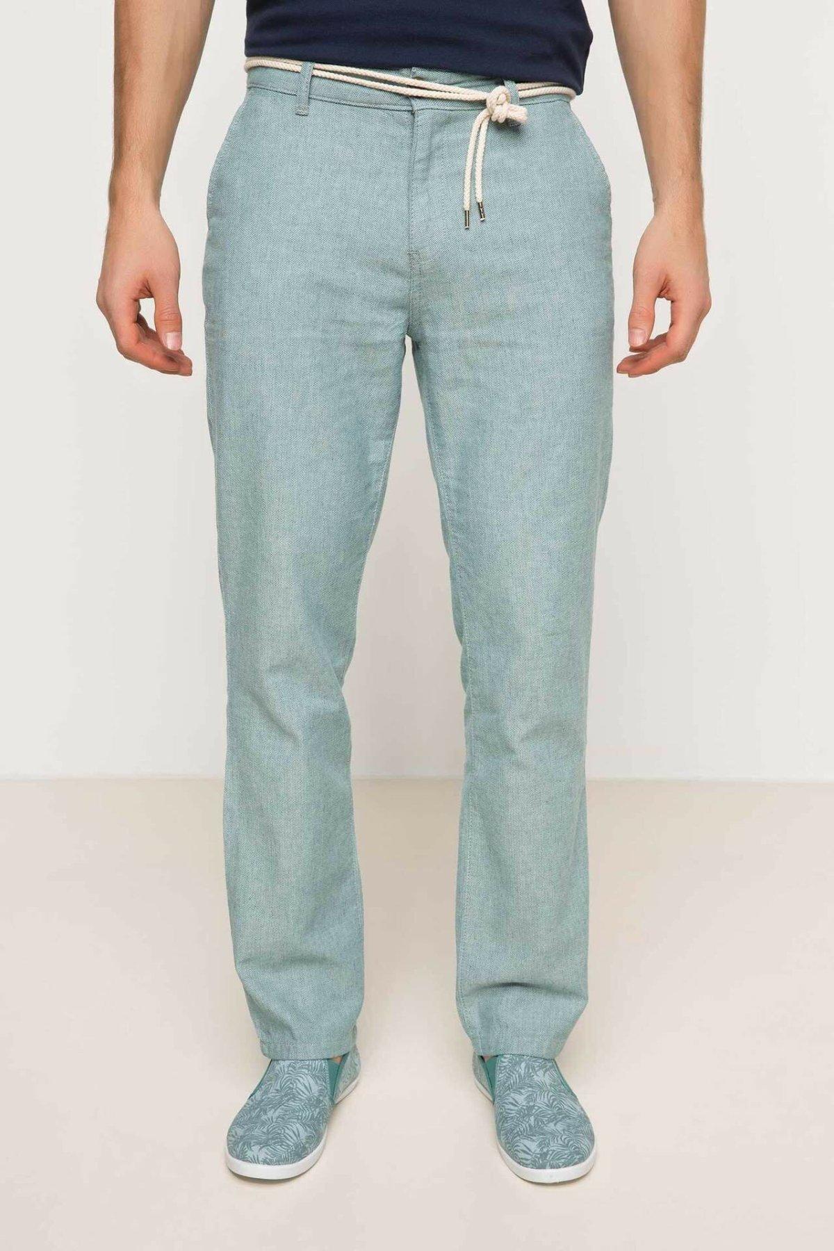 DeFacto New Man Trousers Business Straight Long Pants Mid-waist Men's Bottoms Pockets Long Pants New Blue -G8948AZ17HS