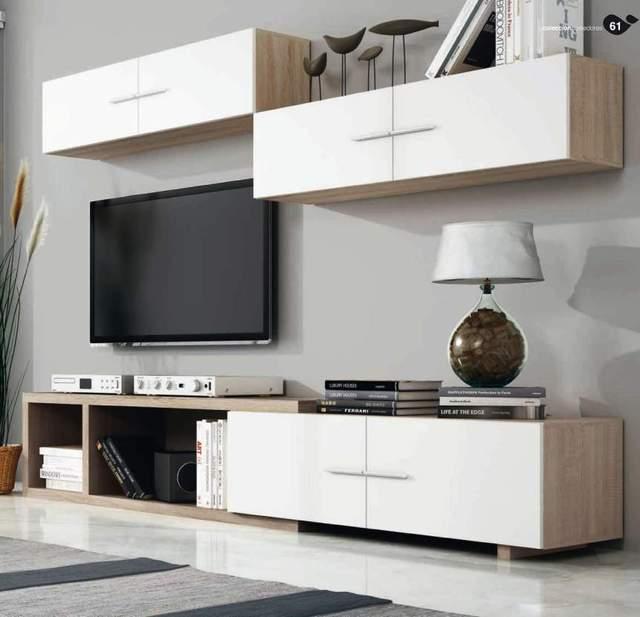 Mueble de salón completo, color cambrian y blanco, muebles de TV, apilables ref-181 1