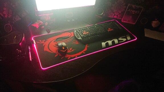 MRGBEST MSI tapis de souris LED RGB grande taille XXL Gamer anti-dérapant tapis en caoutchouc tapis de jeu jeu pour clavier ordi