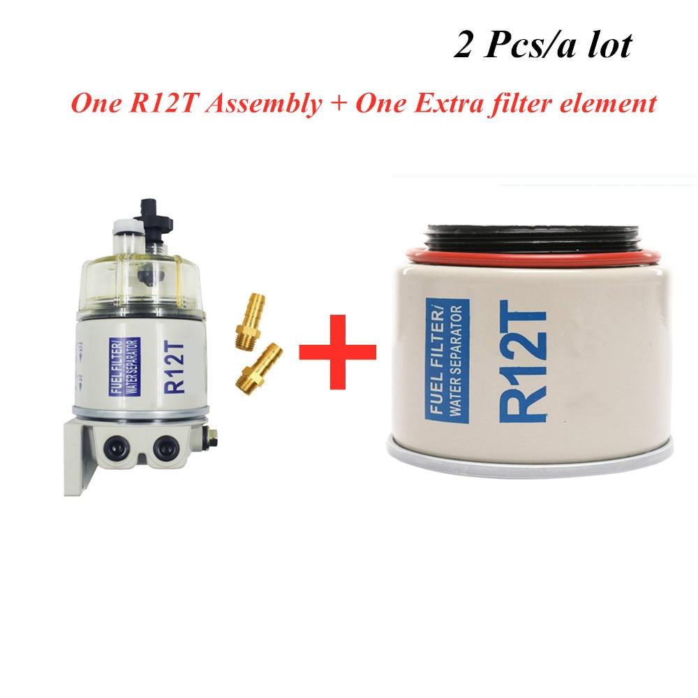 2 pces filtro de combustivel r12t r12s r12p combustivel conjunto separador de agua e um filtro