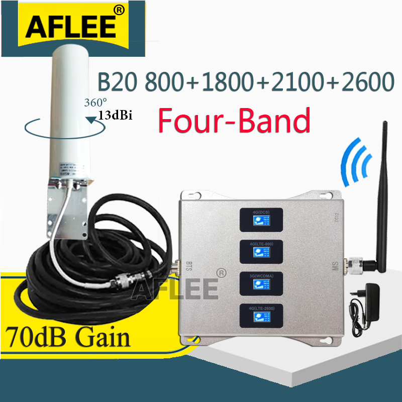 New! Four-Band LTE800 1800 2100 2600 Mhz Cell Phone Booster 2G 3G 4G Cellular Repeater LTE GSM DCS WCDMA Mobile Signal Amplifier