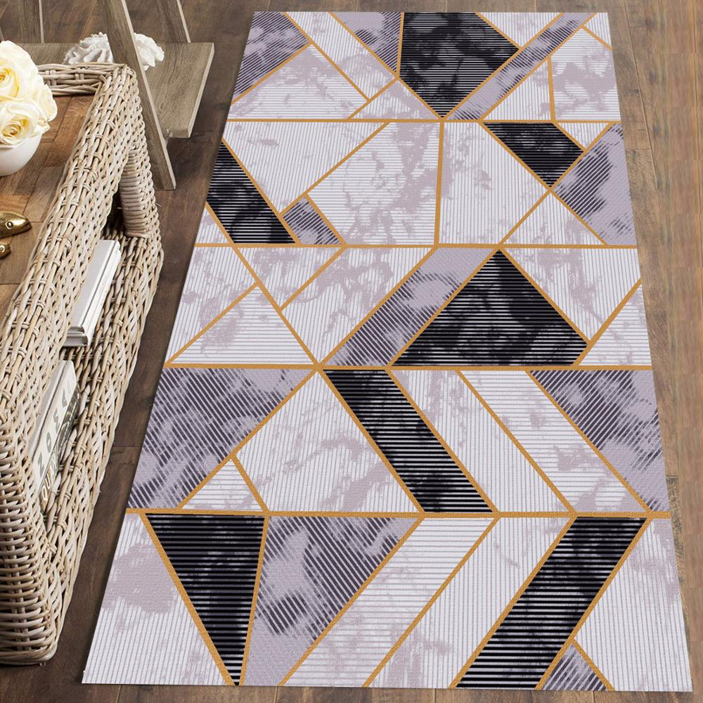 Else Gray Black Marble Geometric Nordec 3d Print Non Slip Microfiber Washable Long Runner Mat Floor Mat Rugs Hallway Carpets