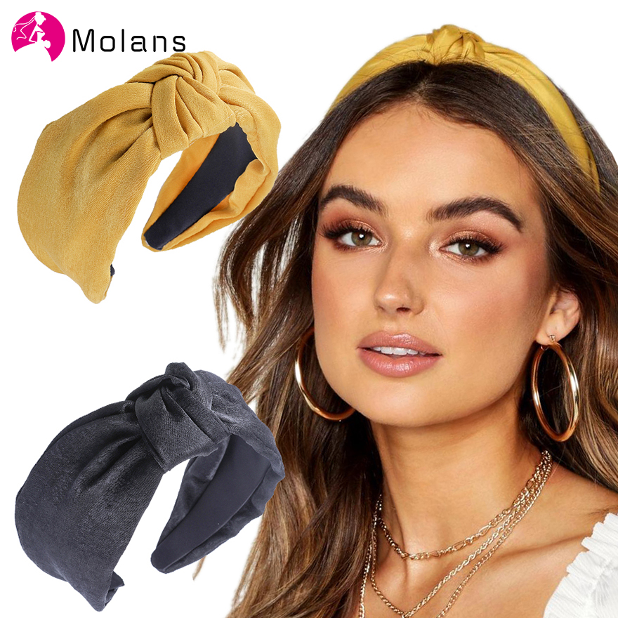 Molans New Spring Knot Headbands Women Mustard Satin Twist Knotted Hairbands Turban Top Knot Wide Hair Hoops Headbands For Girls