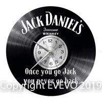 잭 daniels 벽시계 비닐 비닐 레코드 레트로 시계 수제 빈티지 선물 스타일 룸 홈 장식 그레이트 선물 시계