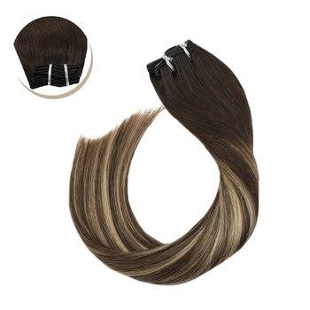 "Clip in Hair Extensions Full Head Set Hair Brown Color Hair 14-24"" Non-Remy Brazilian Straight Human Hair Clip Ins 120G/7Pcs"