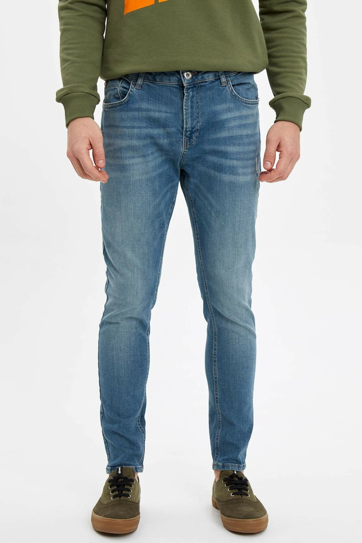 DeFacto Man Spring Washed Blue Denim Jeans Men Casual Mid-waist Bottom Jeans Male Denim PantsTrousers-M1258AZ19AU