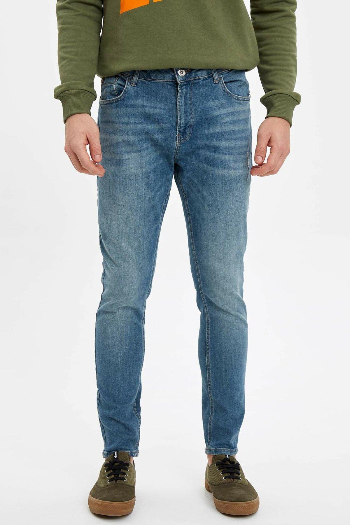 DeFacto Man Spring Washed Blue Denim Jeans Men Casual Mid-waist Bottom Jeans Male Denim PantsTrousers-M1258AZ19AU
