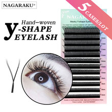 NAGARAKU 5 cases YY shape hand woven premium mink soft light natural eyelashes extension makeup mesh net cross false eyelash