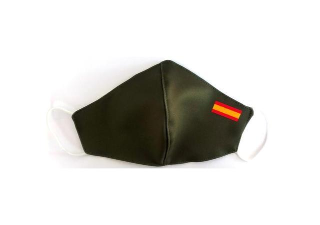 Mascara Flag Spain Green Miltar Higienica Masks fabric 25 washes Homologada standard EU manufactured in Spain Neoprene 1