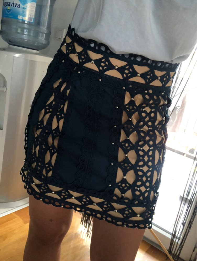 Elegant Beading Patchwork Skirt For Women High Waist Slim Hollow Out Mini Skirts Female Fashion Clothes photo review