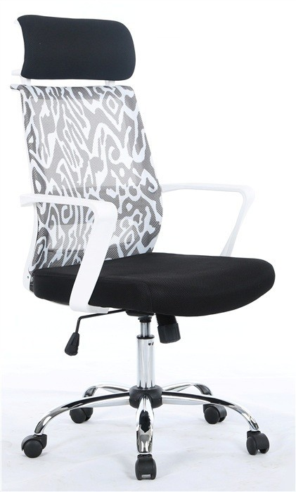 Office Armchair NAIRA, White, Gas, Tilt, Mesh Decorated Black Fabric