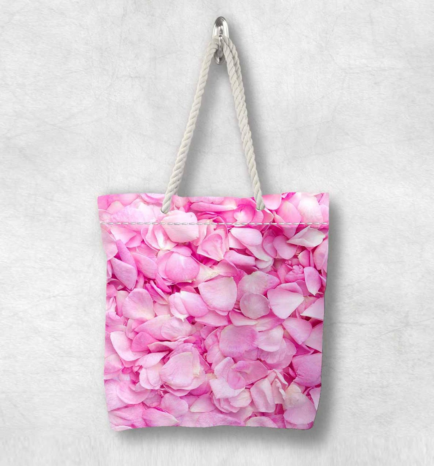 Else Pink Roses Floral Flowers Leaves New Fashion White Rope Handle Canvas Bag Cotton Canvas Zippered Tote Bag Shoulder Bag