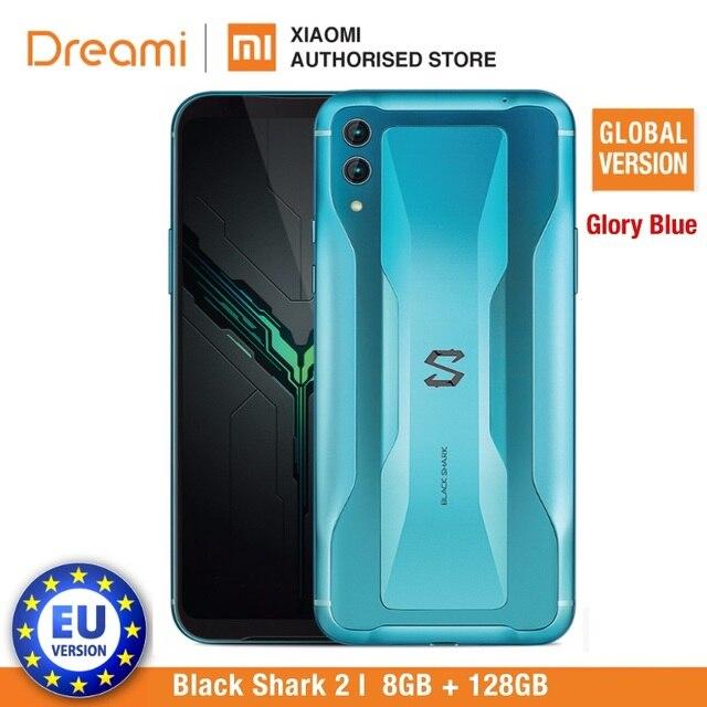 Küresel sürüm Xiaomi siyah köpekbalığı 2 128GB Rom 8GB Ram gölge siyah oyun telefon (yepyeni) blackshark2128 Smartphone cep