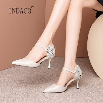 New Women Sandals High Heels Leather Black Glitter Women Shoes Summer Ankle Strap Heels 7.5cm