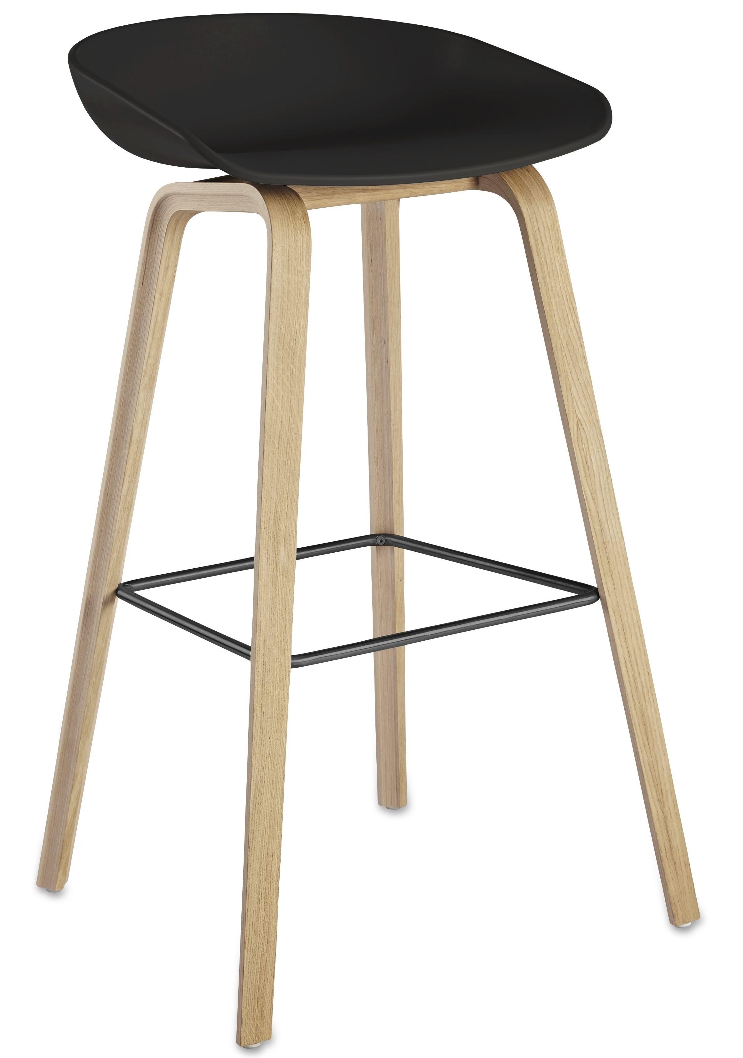 Stool AWAK, Wood, Black Seat