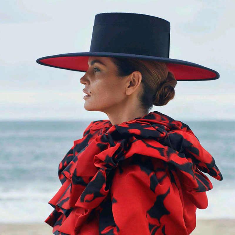 클래식 UNISEX 와이드 브림 스플 라이스 두 톤 양모 페도라 겨울 따뜻한 와이드 브림 여성 모자 레드 블랙 숙녀 교회 더비 드레스 모자