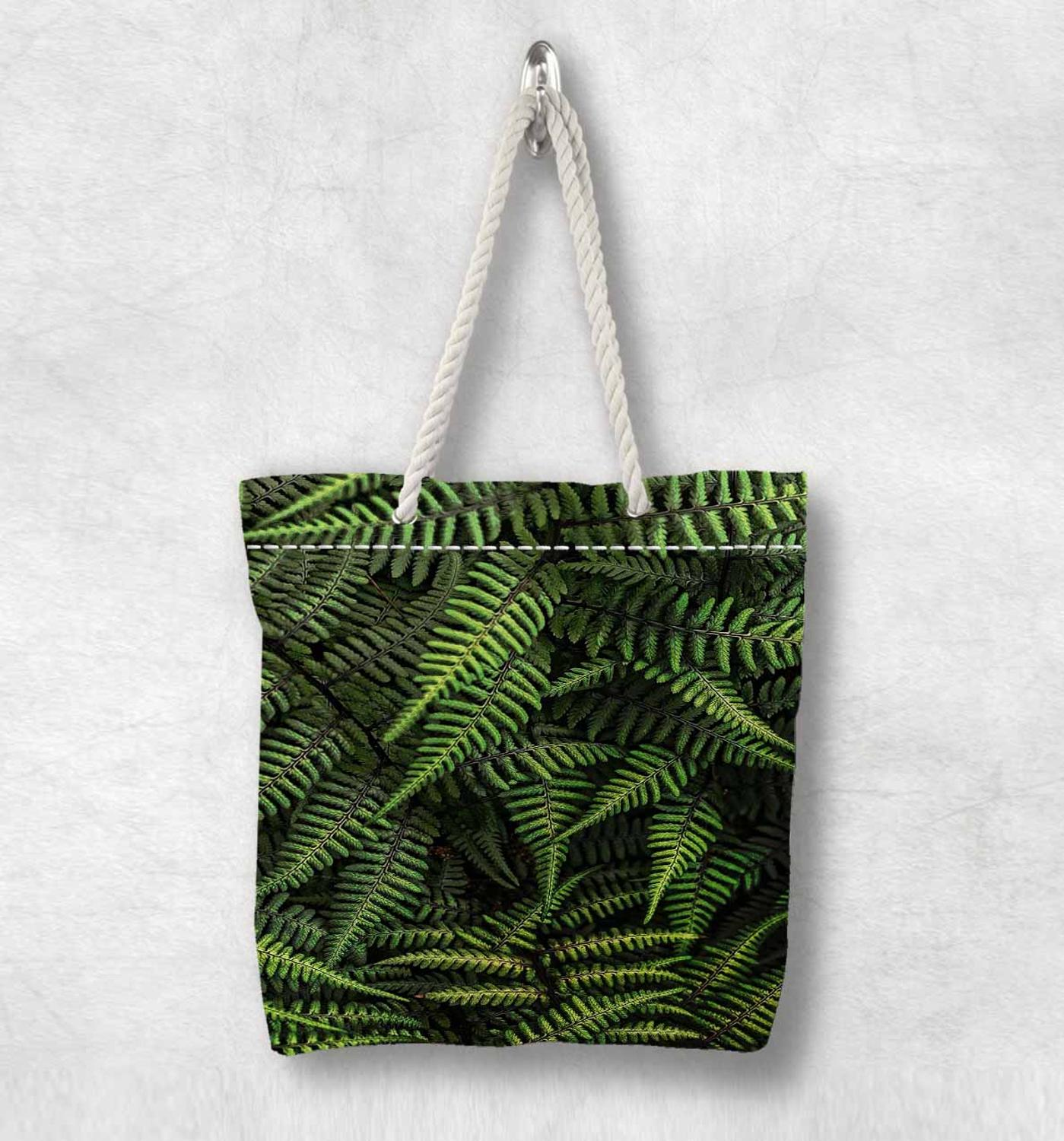 Else Tropical Green Pine Tree Leaf New Fashion White Rope Handle Canvas Bag Cotton Canvas Zippered Tote Bag Shoulder Bag
