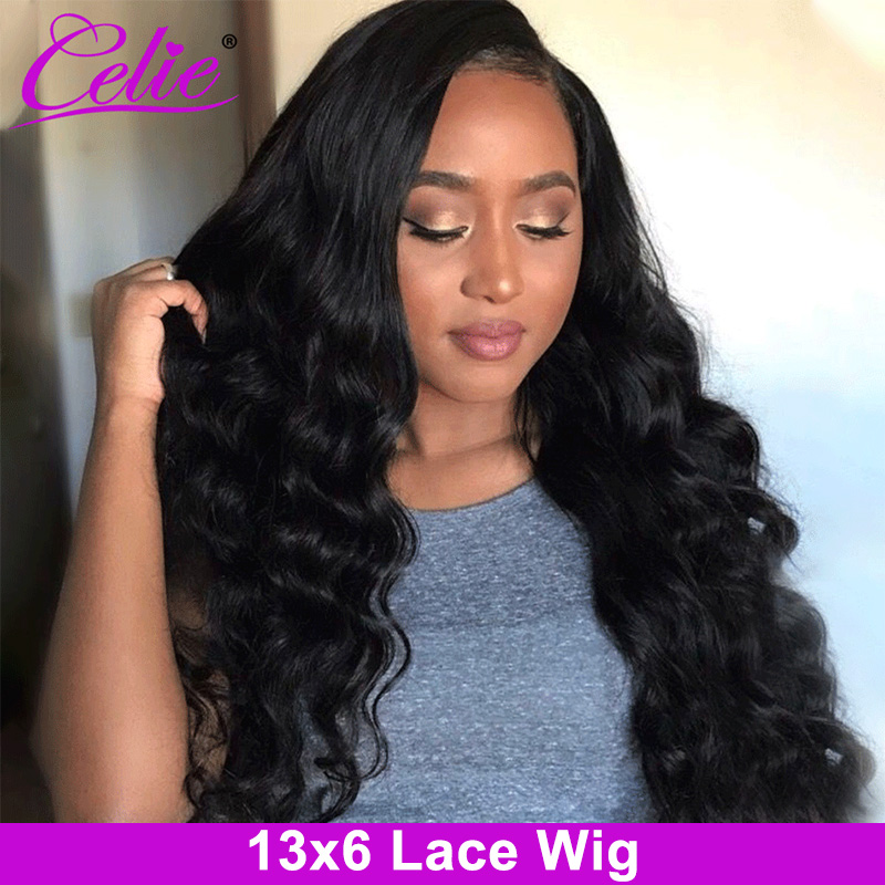 Celie 13x6 Lace Front Human Hair Wigs Brazilian Loose Deep Wave Wig 360 Lace Frontal Wig 180 250 Density Curly Human Hair Wig