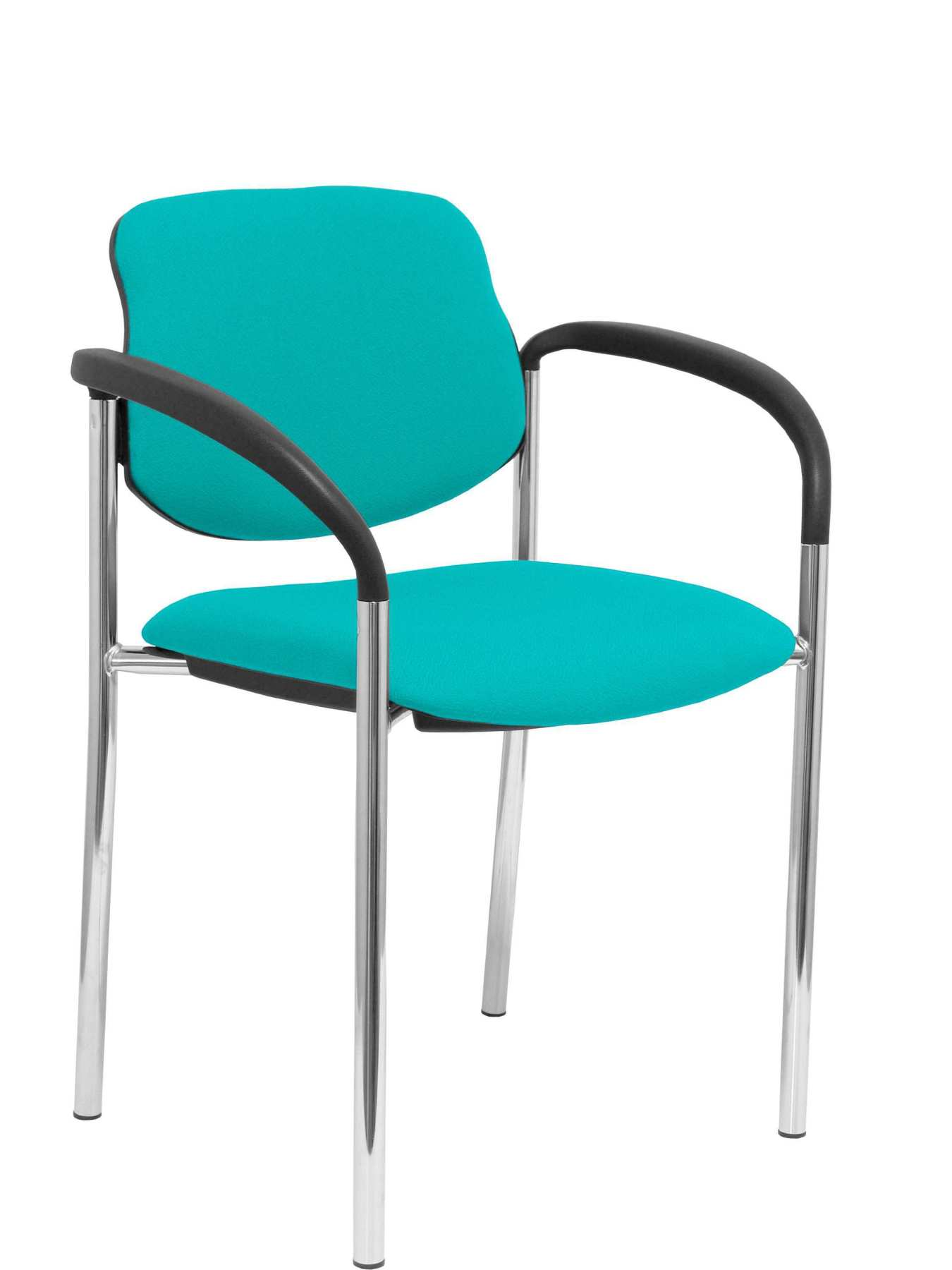 Confident Chair 4-leg And Estructrua Chrome Arms-Seat And Back Upholstered In Fabric BALI Green Color PI