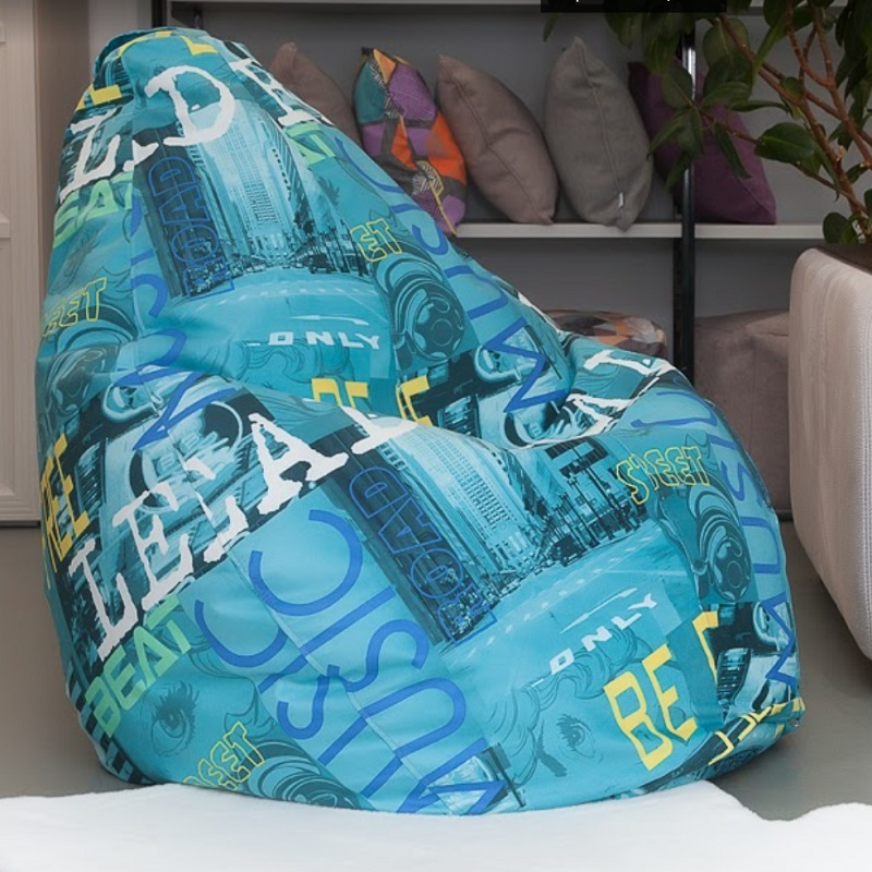 Lima-poof Large Bean Bag Delicatex Turquoise