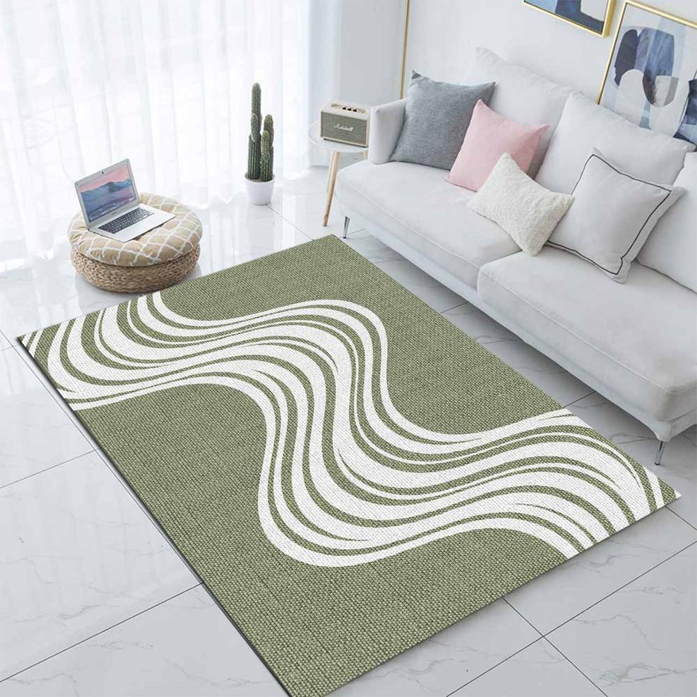 Else Green White Waves Stripes Lines 3d Print Non Slip Microfiber Living Room Decorative Modern Washable Area Rug Mat