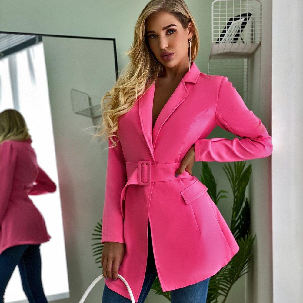 Autumn Suit Blazer Women Casual Coats 2020 New Fashion Winter Pockets Belt Elegant Sexy Office Ladies Workwear Solid Suit Blazer