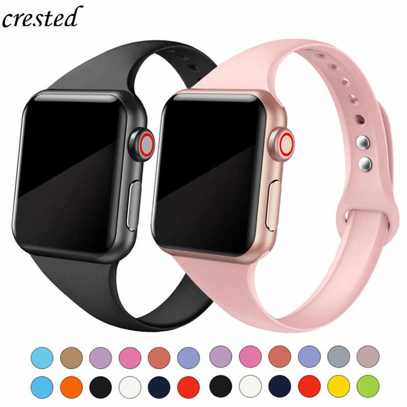Correa delgada para Apple watch 5 bandas 44mm 40mm iWatch Correa 38mm 42mm brazalete de silicona deportivo para Apple watch 4/3/2/1 38