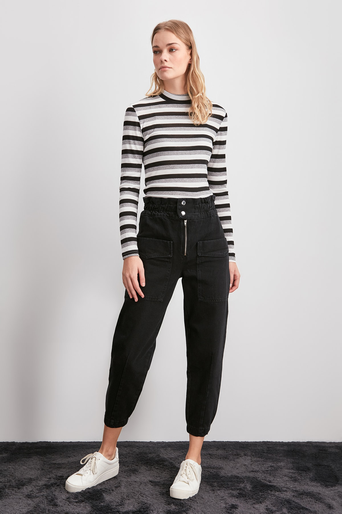Trendyol Beli Elasticized High Waist Jogger Jeans TWOAW20JE0348