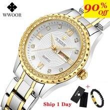 WWOOR Neue Gold Frauen Armband Uhren Wasserdicht Damen Uhr Edelstahl Casual Kleid Frau Quarzuhr Frauen Reloj Mujer