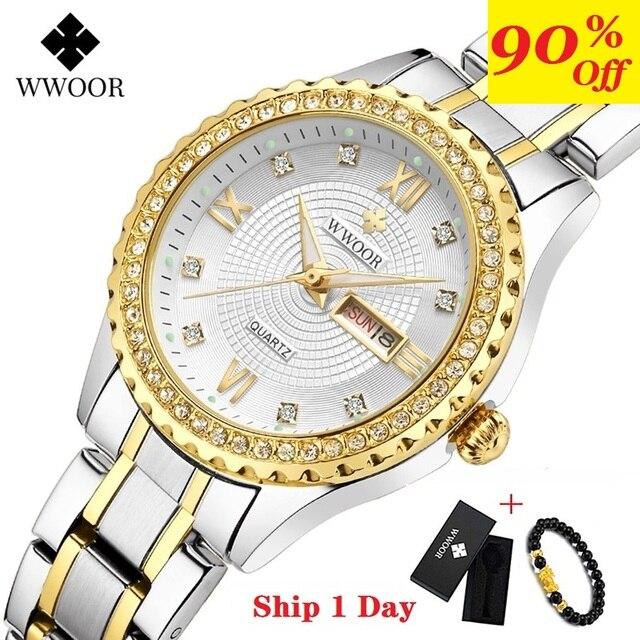 WWOOR 새로운 골드 여성 팔찌 시계 방수 숙녀 시계 스테인레스 스틸 캐주얼 드레스 여성 쿼츠 시계 여성 Reloj Mujer