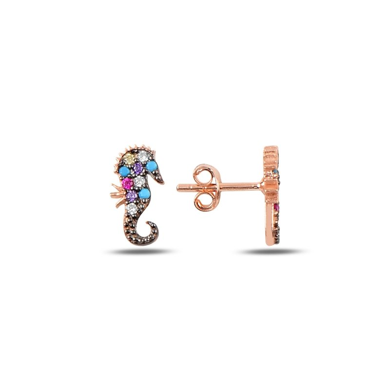 Angemiel 925 Sterling Silver Mixed Color Zircon Stone Seahorse Earrings-Rose Gold Plated