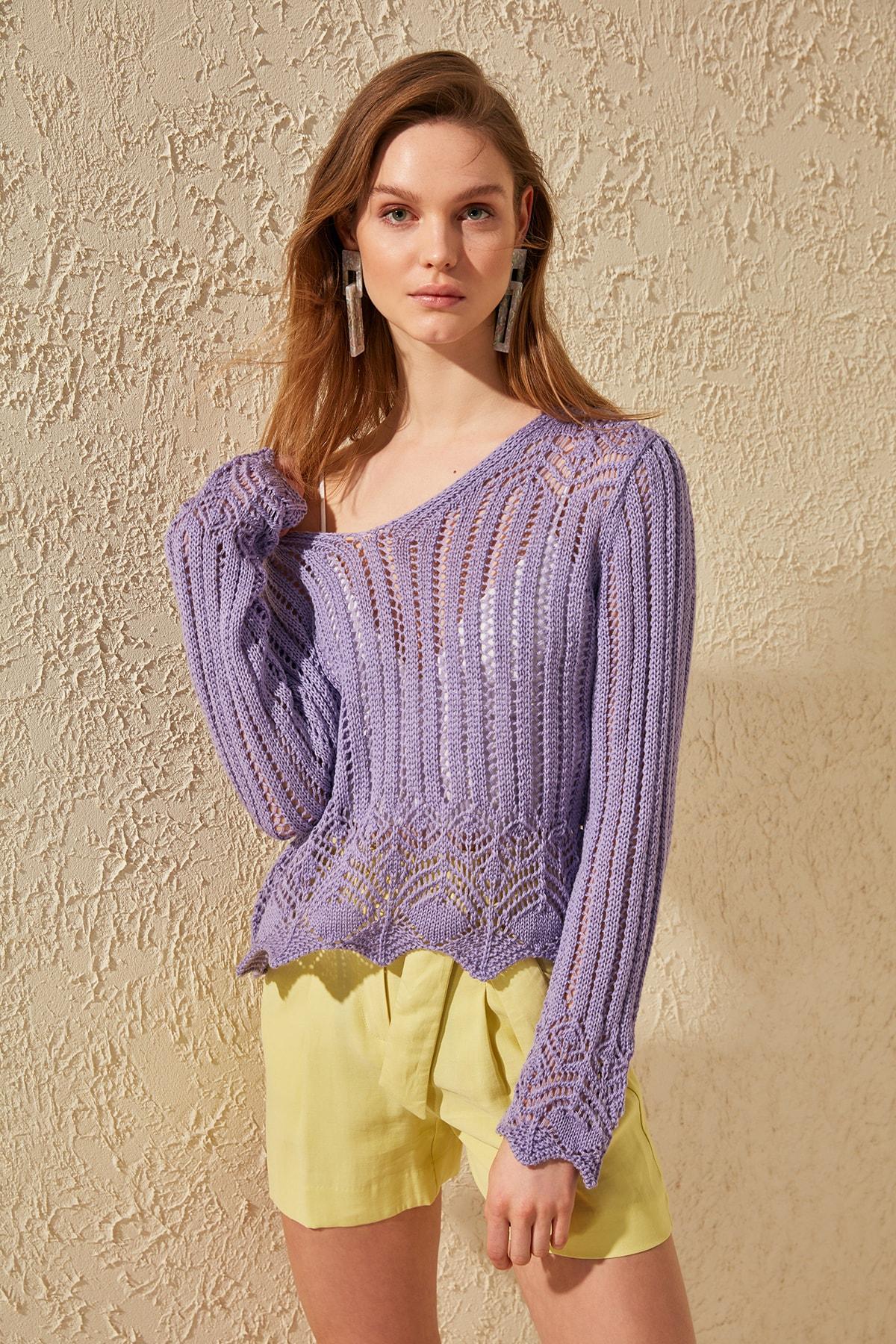Trendyol Cellular Knitwear Sweater TWOSS20KZ0030