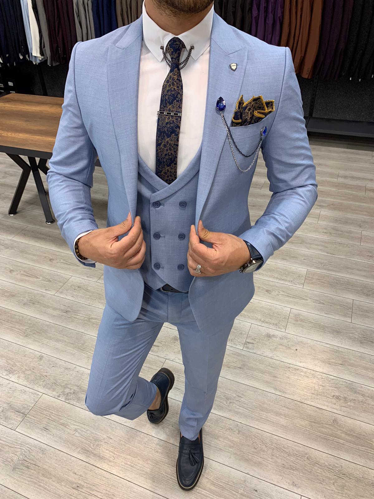 PAREZ Mavi Slim Fit Erkek Takım Elbise