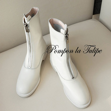BHS 9011139 Fashion Genuine Cow Leather 3.5CM Chunky Heel Round Toe Chic Front Zipper Women Casual Wear Martin Boots Mid Calf