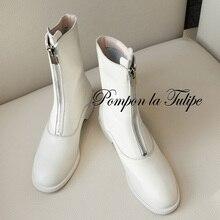 купить BHS 9011139 Fashion Genuine Cow Leather 3.5CM Chunky Heel Round Toe Chic Front Zipper Women Casual Wear Martin Boots Mid Calf дешево