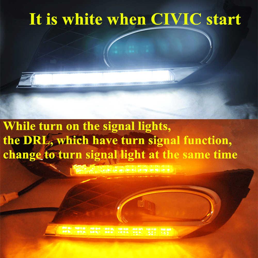 ECAHAYAKU التتابع 12 فولت سيارة خاصة LED ضوء الجري النهاري دي أر إل اكسسوارات مع الضباب غطاء المصباح لهوندا سيفيك 2012 2013 2014