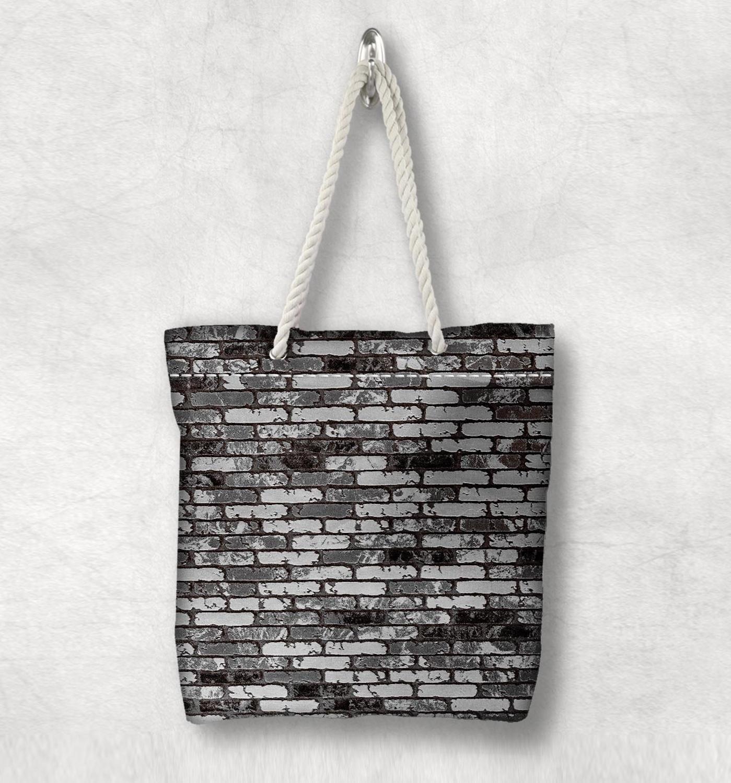 Başka bir siyah gri tuğla duvar taş yeni moda beyaz halat kolu kanvas çanta pamuk kanvas fermuarlı Tote çanta omuzdan askili çanta