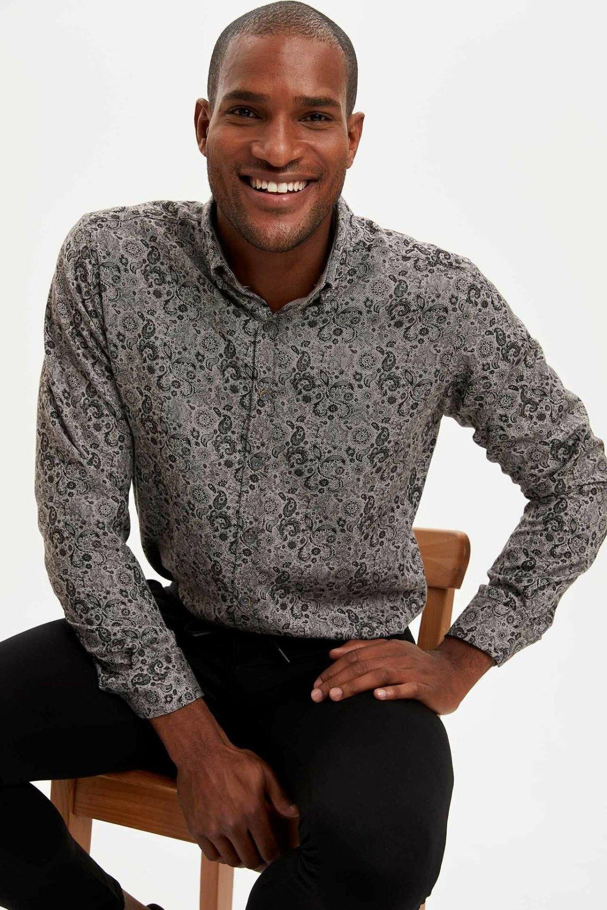 DeFacto Man Winter Vintage Prints Shirts Men Smart Casual Top Shirts Male Prints Long Sleeve Shirt-M2631AZ19WN