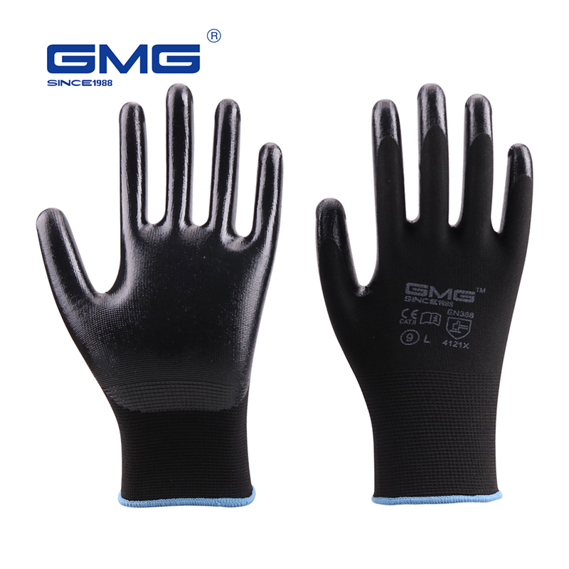 Black Gloves GMG Black Red White Polyester Black Grey Nitrile Smooth Coating Safety Work Gloves Mechanics Hand Gloves For Work