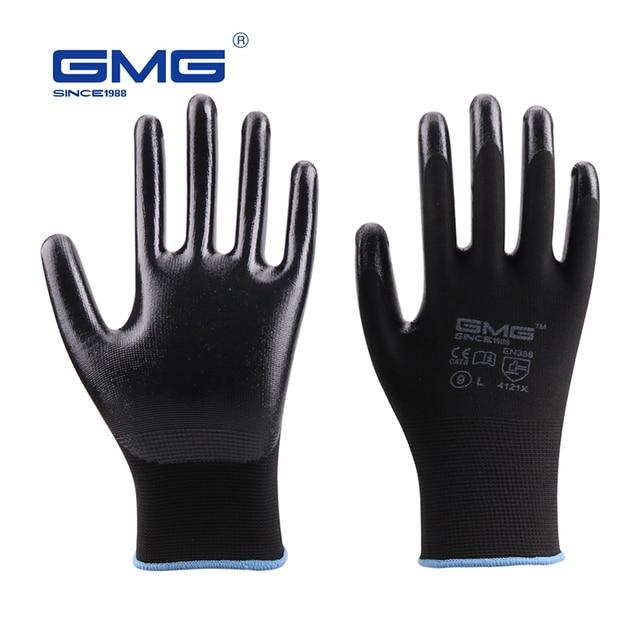 שחור כפפות GMG שחור אדום לבן פוליאסטר שחור אפור Nitrile חלק ציפוי בטיחות עבודה כפפות מכניקה יד כפפות לעבודה