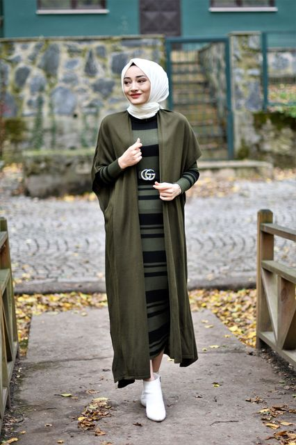 2 Pieces Striped Women's Set, Maxi Dress and Cardigan 6