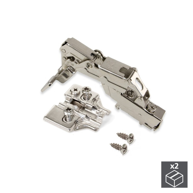 Lot Of 2 Hinges Supercodo X91 Emuca Opening 165 ° With Soft Closing And Supplements Euro Regulation Eccentric