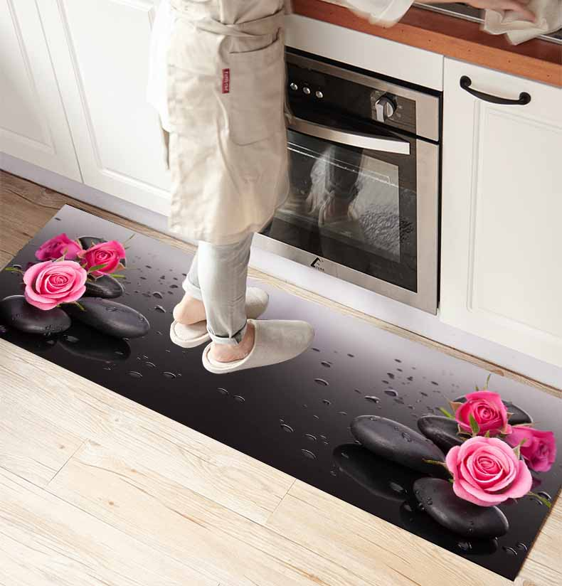 Else Black Spa Stones Pink Roses Flowers 3d Print Non Slip Microfiber Kitchen Counter Modern Decorative Washable Area Rug Mat