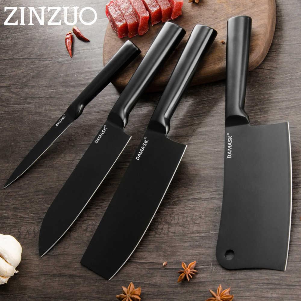 ZINZUO siyah kaplama paslanmaz çelik bıçak yüksek netlik şef doğrama bıçak Nakiri japon Santoku Cleaver pişirme araçları satışı