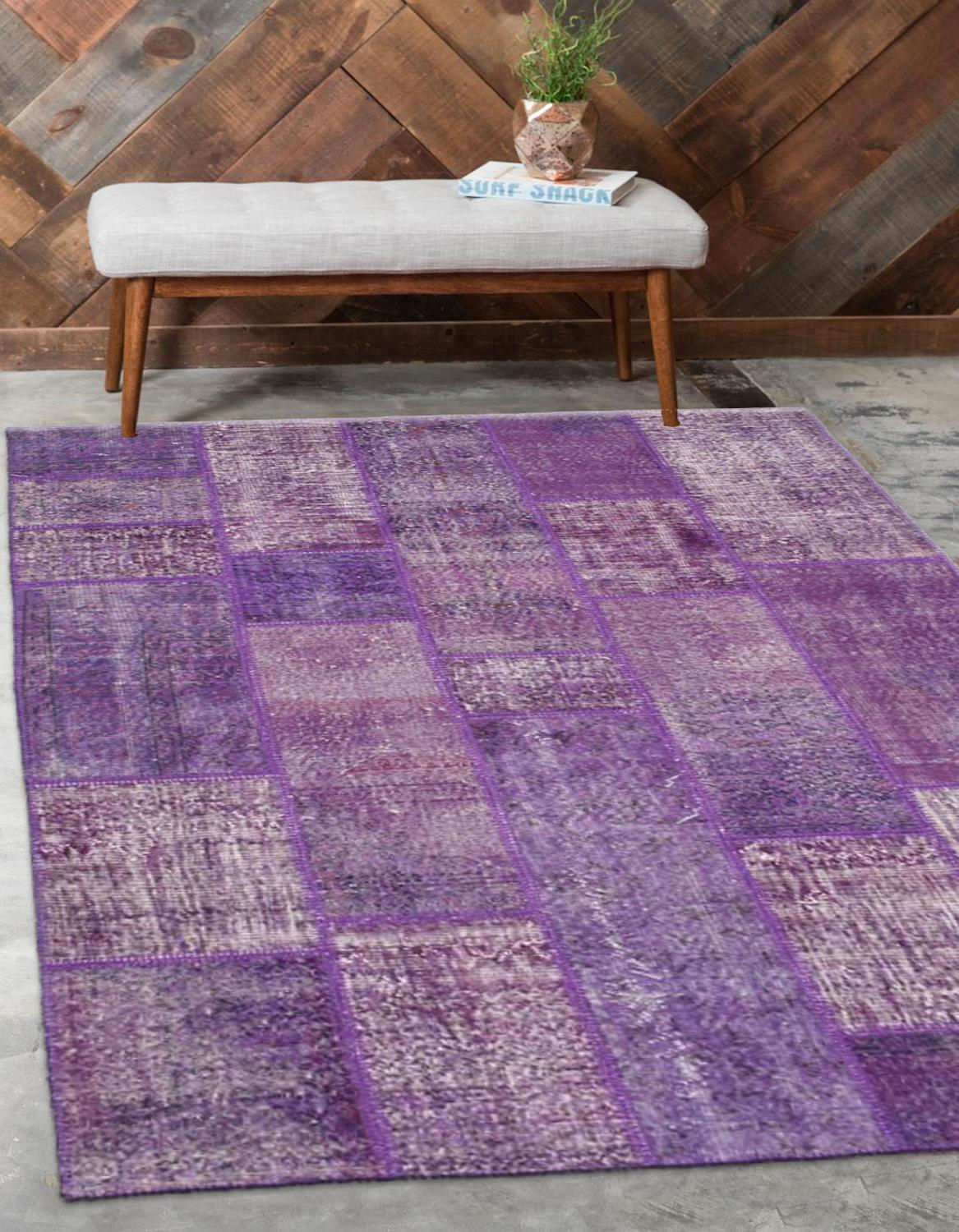 Else Purple Anatolian Patchwork Rug Turkish Handmade Organic Area Rug Decorative Home Decor Wool Patchwork Rug Carpet