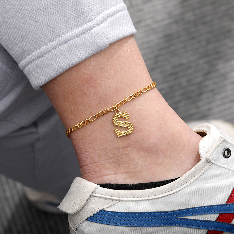 Initial Letter Anklet For women Fashion Stainless Steel Old English Anklet Children's Best Initial Name Jewelry Best Friend Gift